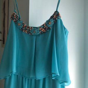 Aqua hi-low chiffon dress